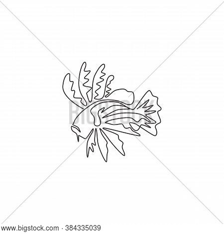 One Continuous Line Drawing Of Scary Lionfish For Company Logo Identity. Sea Monster Fish Creature M
