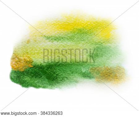 Watercolor Spots, Stains - Autumn Colors - Green, Yellow, Gold.