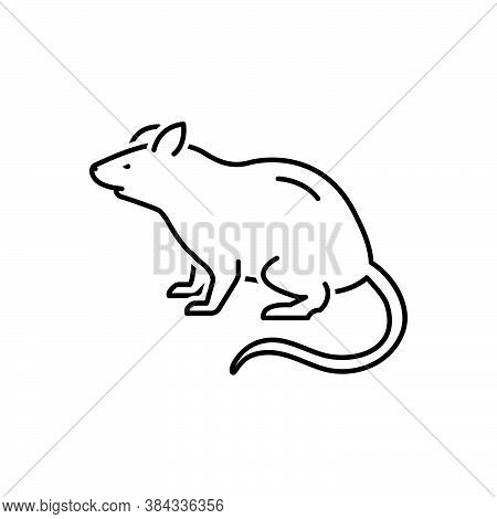 Black Line Icon For Rat Mouse Beast Domestic Pest Rodent Rattus Gnawer Jerboa Harmful Disease Danger