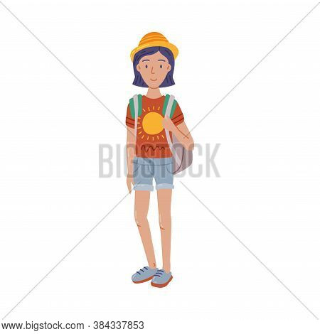 Young Woman Standing With Backpack Summer Outdoor Activity, Travel, Camping, Backpacking Trip Cartoo