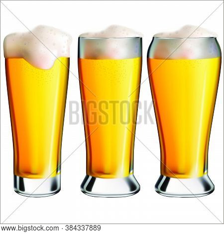 Options For Glasses With Light Beer And Foam.  Oktoberfest Holiday.