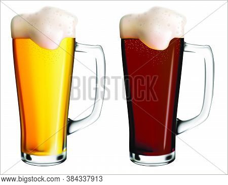 Realistic Vector Illustration Of Glass Mugs With Light And Dark Beer. Holiday Oktoberfest.