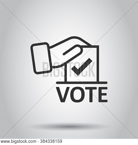 Vote Icon In Flat Style. Ballot Box Vector Illustration On White Isolated Background. Election Busin
