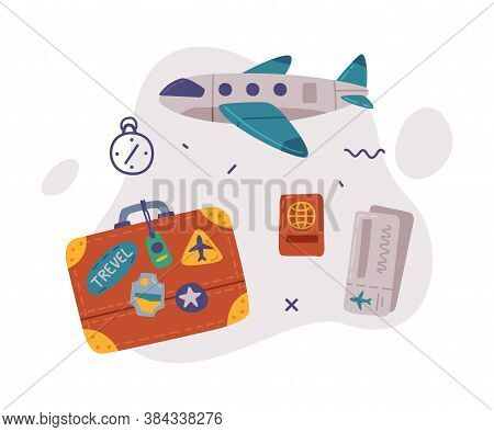 Travel Or Vacation Objects Set, Retro Leather Suitcase, Passenger Airplane And Passport, Journey On