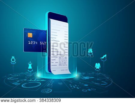 Concept Of Online Shopping Or E-commerce, Graphic Of Mobile Phone With Credit Card And Payment Bill