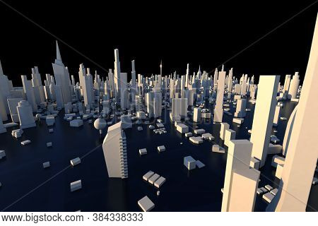 3d Rendering White City, Cityscape With Building House And Street With Shallow Depth Of Field Effect