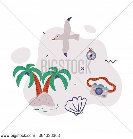 Travel Or Vacation Objects Set, Tropical Palm Trees, Seagull, Camera, Journey On Holidays, Adventure
