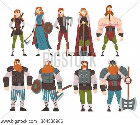Vikings With Weapon And Ancient Draccar Set, Medieval Male And Female Warriors, Scandinavian Mytholo
