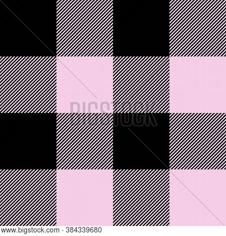 Tartan Valentine Is Day Pink Plaid. Scottish Pattern In Black And Pink Cage. Scottish Cage. Traditio