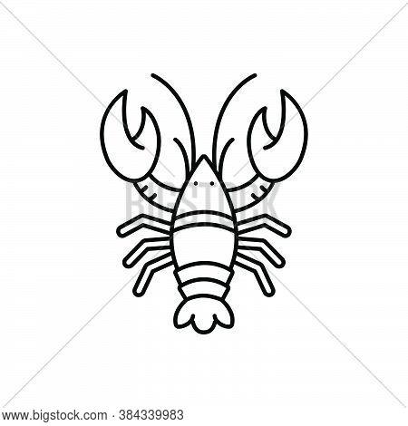 Black Line Icon For Lobster Crayfish Shrimp Prawn Reptantia Langouste Crayfish Pleopod Crustacean Fi