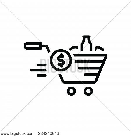 Black Line Icon For Price Cost Goods Retall Grocery Shopping Trolly Buying-cart Accessories