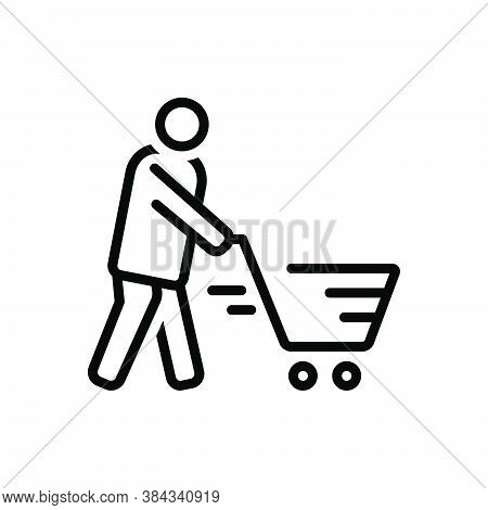Black Line Icon For Cart Consumable Customer Trolley Basket Buying-cart Purchase Shopping Consumer P