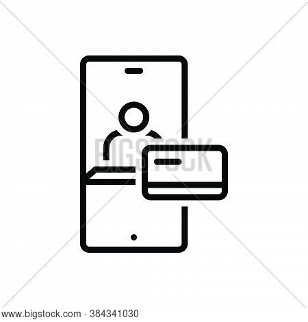 Black Line Icon For Credit Purchase Online Payment Transaction Card Internet Paying Checkout Digital