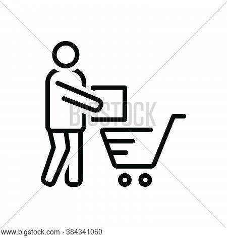 Black Line Icon For Customer Regular-shopper Clientele Underwriter Trolly Purchaser Vendee Consumabl
