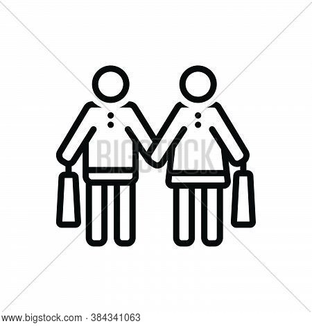 Black Line Icon For Couple Purchase Shopping Consumer Prospective-buyer Buy Commercial