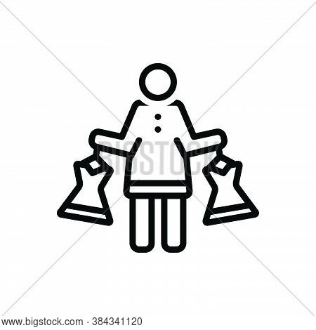 Black Line Icon For Dress-shopping Purchase Cloths Fashion Shopping Mall Consumer Prospective-buyer