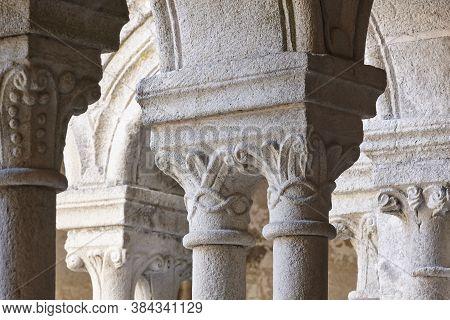 Romanesque Columns In Ribeira Sacra. Santo Estevo Abbey. Galicia, Spain