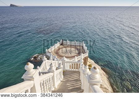 Mediterranean Coastline Viewpoint In Benidorm. Castell, Alicante. Spain