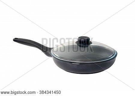 New Black Empty Frying Skillet With Glass Lid Isolated On White