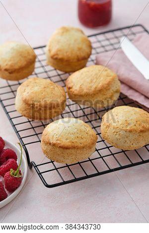 Traditional British Scones With Clotted Cream, Raspberry Jam. Scones With Raspberry Jam