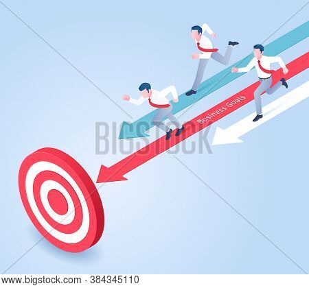 Business People Running Compete For Goals. Isometric Vector Illustrations Concept.