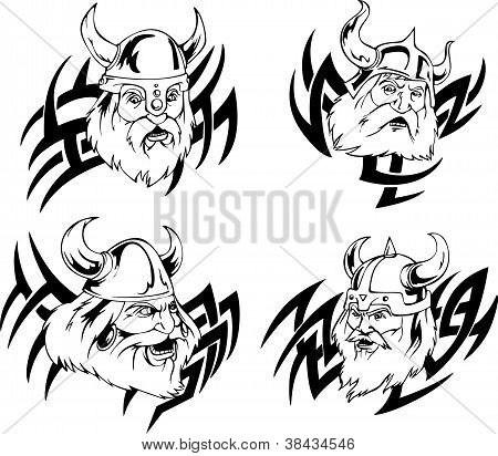 Heads of vikings. Set of tribal black and white vector illustrations. poster