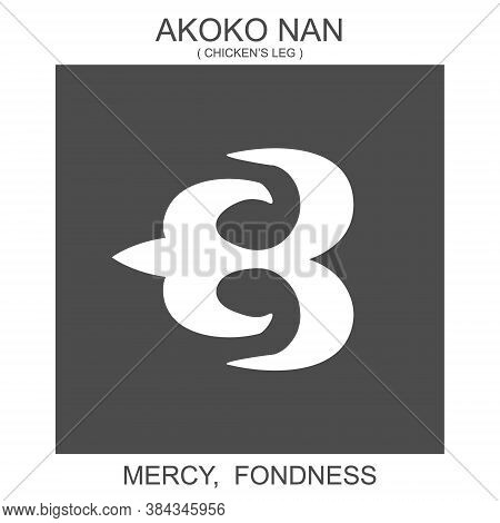 Vector Icon With African Adinkra Symbol Akoko Nan. Symbol Of Mercy And Fondness