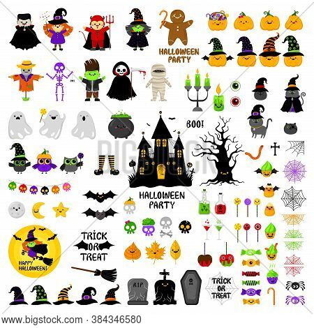 Halloween Cute Icons Vector Set. Cartoon Style. Kawaii. Trick Or Treat. Holiday Symbols, Characters,