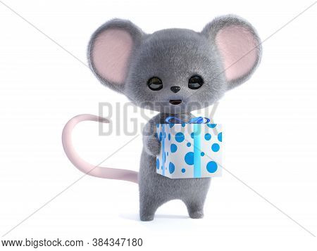 3d Rendering Of An Adorable Kawaii Furry Smiling Mouse Holding A Wrapped Birthday Gift In Its Hand.