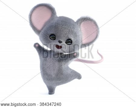3d Rendering Of An Adorable Kawaii Furry Smiling Mouse Looking Very Happy And Jumping For Joy. White