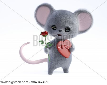 3d Rendering Of An Adorable Kawaii Furry Smiling Mouse Holding A Heart Shaped Chocolate Box In One H