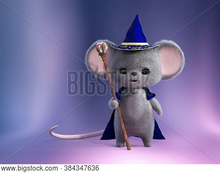 3d Rendering Of An Adorable Kawaii Furry Smiling Mouse Dressed As A Wizard, Holding A Magic Staff To