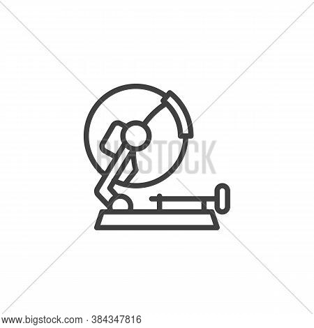 Stationary Circular Saw Line Icon. Linear Style Sign For Mobile Concept And Web Design. Mitre Saw Ou