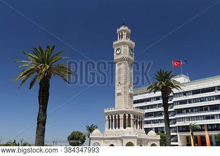 Izmir Clock Tower In Konak Square, Izmir City, Turkey