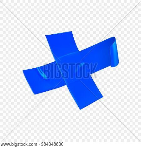 Blue Duct Repair Tape Cross Isolated On Transparent Background. Realistic Blue Adhesive Tape Piece F