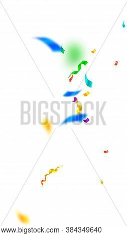 Streamers And Confetti. Festive Streamers Tinsel And Foil Ribbons. Confetti Explosion On White Backg