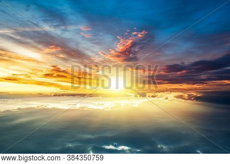 Colorful Sky And Sunrise. Natural Landscape Of The Atmosphere .sunlight Into The Sky, Background Of