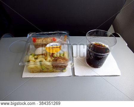 Frankfurt / Germany - 11 Jul 2011: The Food On The Airplane Of Lufthansa, Airline
