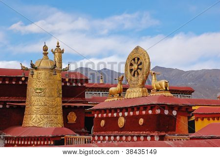 Decoration On Roof Of Jokhang Temple