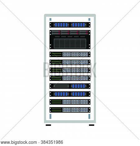 Server Rack Icon. Flat Color Design. Vector Illustration.