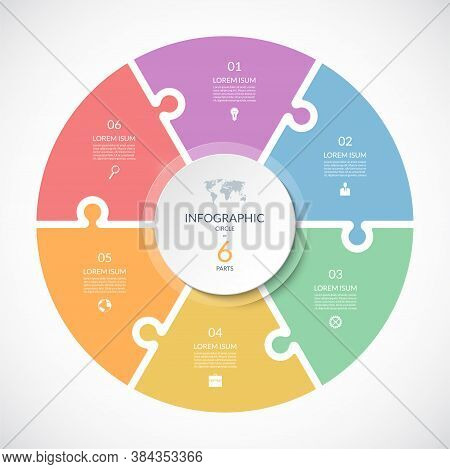 Vector Infographic Puzzle Circular Template. Cycle Diagram With 6 Parts, Options. Can Be Used For Ch