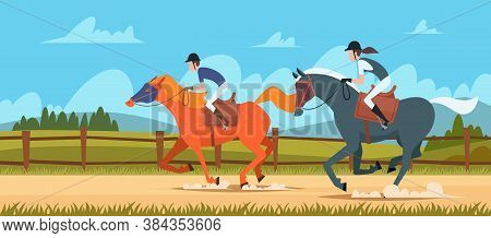 Equestrian Sport Background. People Rides On Race Horse Outdoor Vector Illustrations In Cartoon Styl