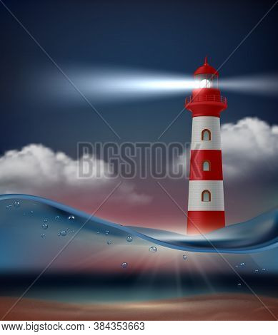 Lighthouse In Ocean. Night Marine Landscape With Lighthouse For Ship Navigation Vector Realistic Bac