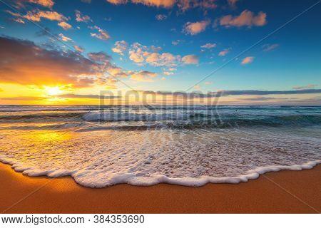 Beautiful Sunrise Over The Sea And Exotic Island Beach