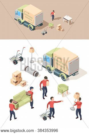 Loading Furniture. Transporting Vehicle Move Out Furniture In New House Lifting Boxes Vector People