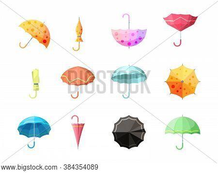 Umbrella. Collection Of Autumn Protection Flexibility Umbrellas Rain Symbols Vector Set. Collection