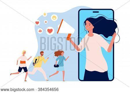 Referral Program. Online Marketing, Woman With Megaphone Refer A Friends. Social Media Info Vector I