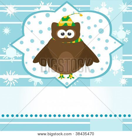 Winter Background With Cute Owl