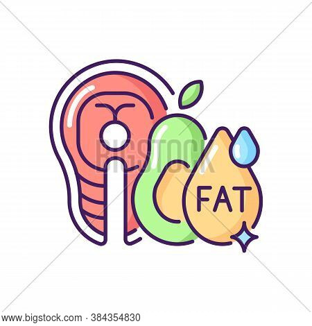 Fats Rgb Color Icon. Good Nourishment For Dietary. Food Group For Digestion. Menu For Dietary. Veget