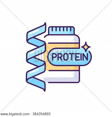 Protein Rgb Color Icon. Supplement For Fitness. Nutrition For Workout. Chemical Structure. Foodstuff